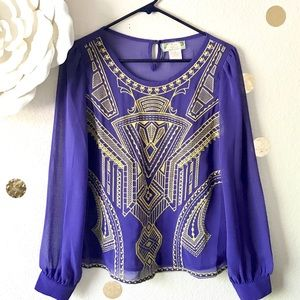 Flying Tomato | Purple & Gold Blouse
